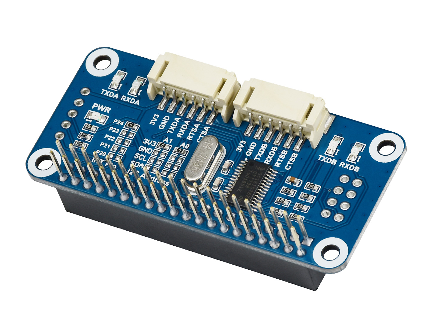 Serial Expansion HAT For Raspberry Pi, I2C Interface, Provides 2-ch UART And 8 GPIOs