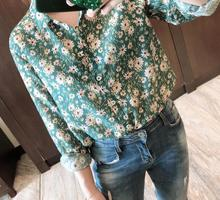 Kadın gömlek yeşil çiçek pamuk ipek gömlek bahar yeni romantik yumuşak uzun kollu gömlek