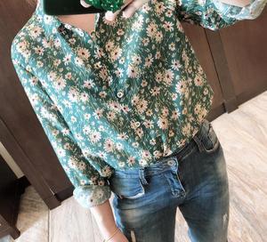 Image 1 - Woman Shirt Green Floral Cotton Silk Shirt Spring New Romantic Soft Long Sleeve Shirt