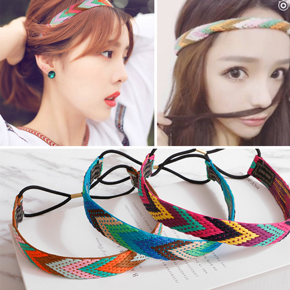 Ethnic Boho Embroidery Yoga Headbands Vintage Hair Accessories Braid Elastic Yoga Hairband Bohemian Rubber Headband For Women