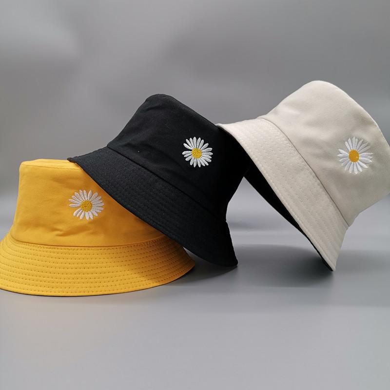 Double side Unisex Harajuku Bucket Hat Fishing Outdoor Cap women Bucket fishing Hats Sunscreen Daisy embroidery fisherman hat