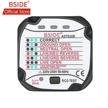 цена на BSIDE AST01ER Socket Tester Outlet Tester EU Plug Automatic Electric Circuit Polarity Voltage Detector Wall Plug Breaker Finder
