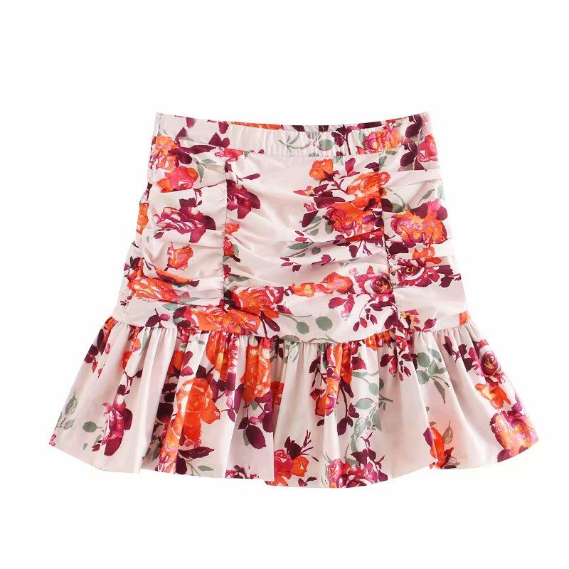 2020 Women Summer Flower Print Shrink Fold Pleated Skirt Faldas Mujer Ladies Side Zipper Vestidos Hem Ruffles Mini Skirts QUN604