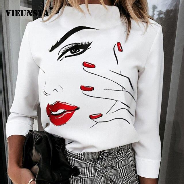 Elegant Lips Eyes Print Blouse Shirts Women O Neck Long Sleeve Office Tops 2020 Autumn Casual Streetwear Shirt Pullover Feminine