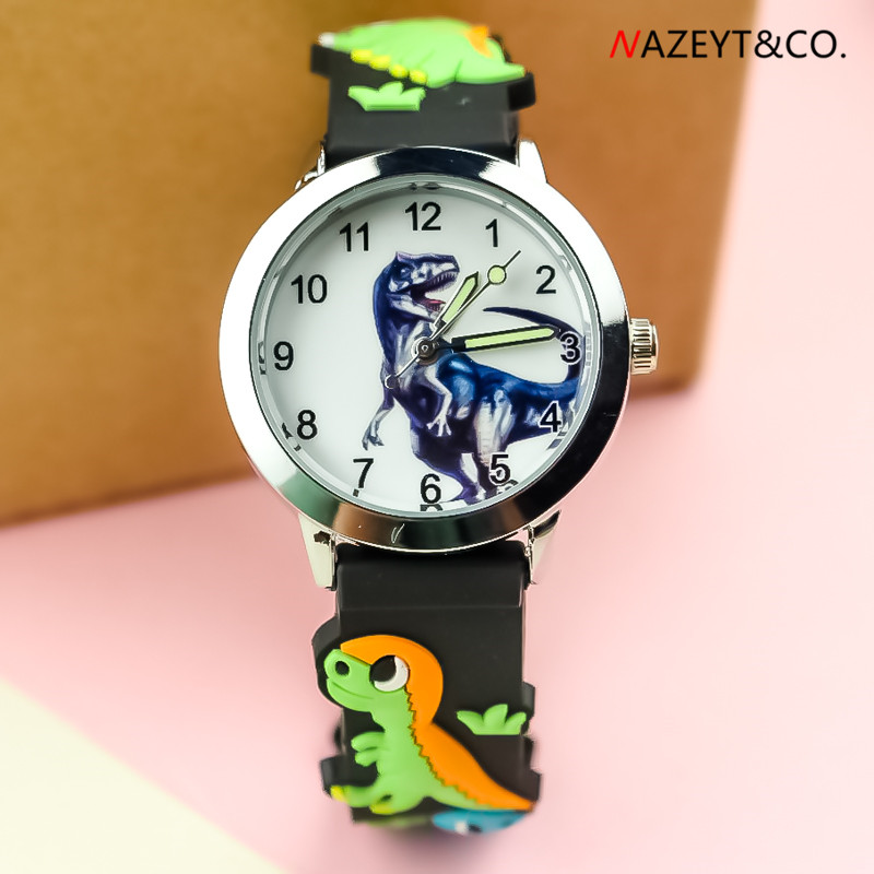 Free Shipping Cool Dinosaur Dial Boys Watch Little Children Cute 3D Cartoon Silicone Quartz Wristwatch Girls Dresswatch
