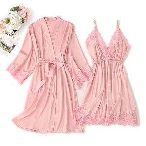 Image 3 - Lace Trim Sexy Wedding Lady Robe Suit Loose Satin Bride Bridesmaid Kimono Bathrobe Gown Mini Sleepwear Rayon Intimate Lingerie