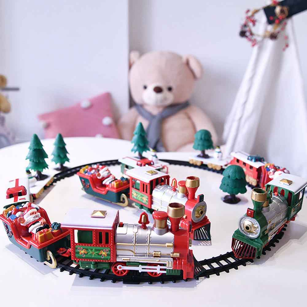 Child Electric Toy Railway Train Set Christmas Electric Rail Car Train Toy Racing Road Transportation Building Toys Railway Toys