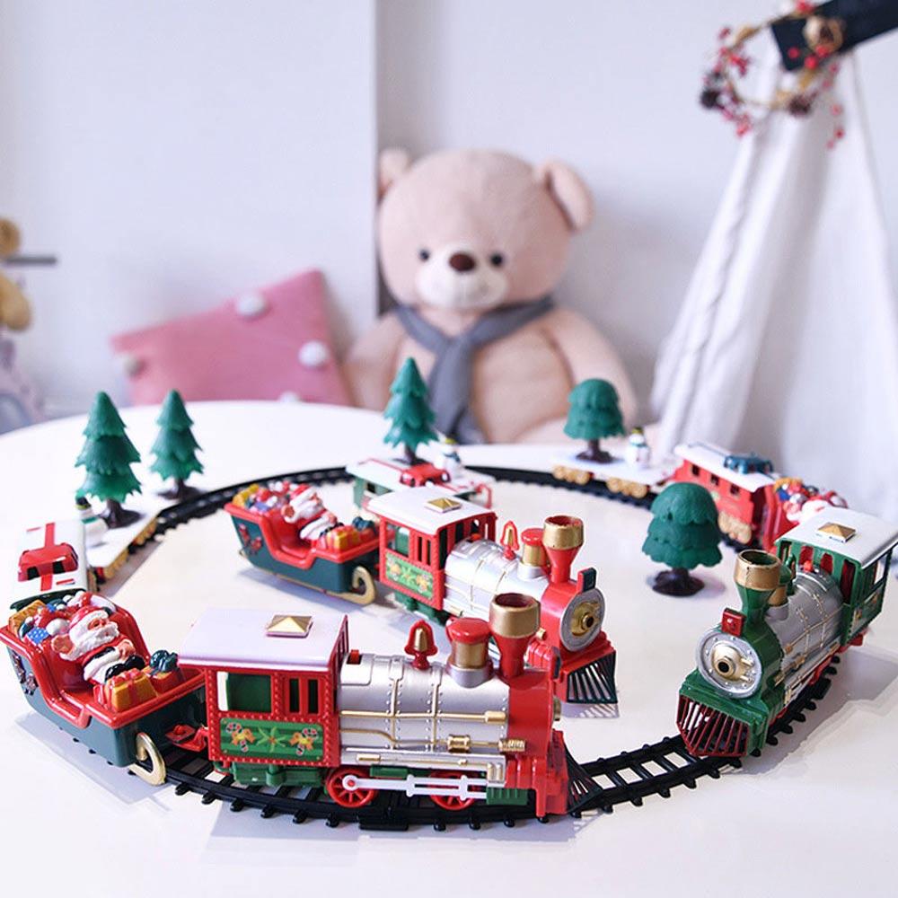 Детская электрическая игрушка, строительные игрушки, Рождественский Электрический Железнодорожный автомобиль, поезд, гоночный Дорожный т...