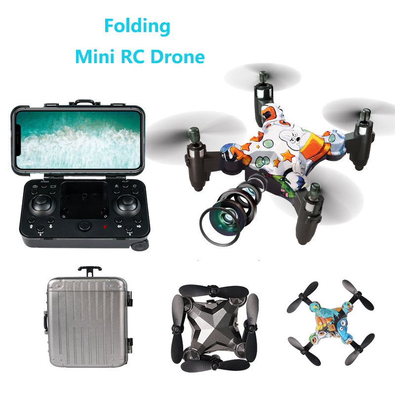 Folding Storage Mini Drone with Camera HD Gesture photo RC Quadcopter Toys Folding Dron RC Helicopter for Children Gifts