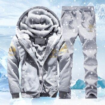 Tracksuit Men Sporting Fleece Thick Hooded Brand-Clothing Casual Track Suit Men Jacket+Pant Warm Fur Inside Winter Sweatshirt 1