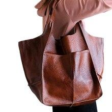 Casual Weiche Große Kapazität Tote Frauen Handtaschen Designer Im Alter Von Metall Look Luxus Pu Leder Schulter Tasche Retro Große Shopper Geldbörsen