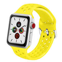 Rubber strap for Apple Watch Band 4 5 40mm 44mm Soft Silicone Sport Breathable belt iWatch Series 5 4 3 2 38MM 42MM Accessories