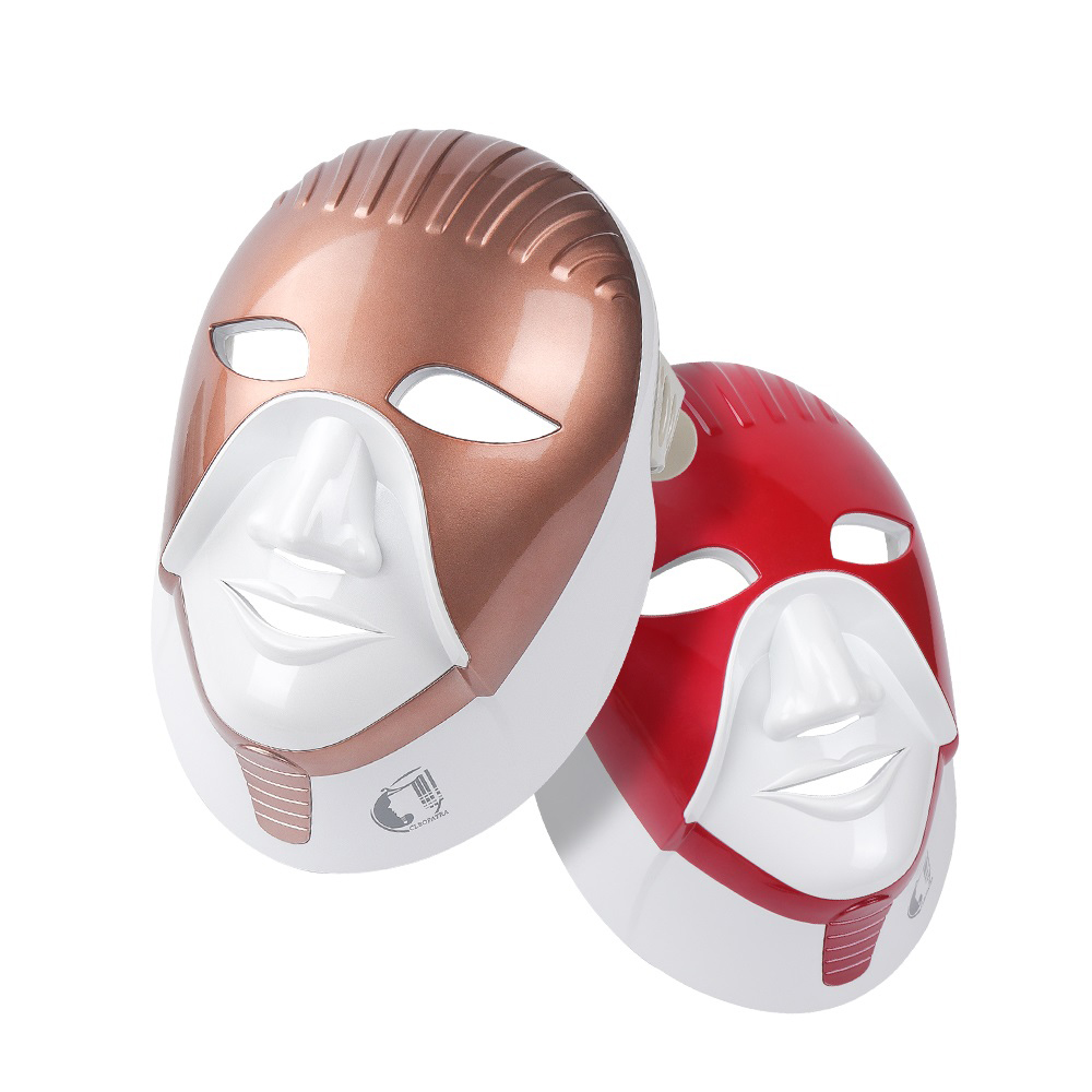 FEITA Rechargeable 7 Colors Led Mask For Skin Care Led Facial Mask With Neck Egypt Style Photon Therapy Face Beauty