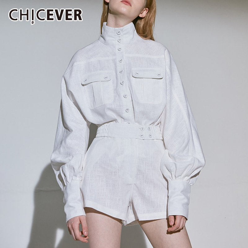 CHICEVER White Shirt Shorts Women Two Piece Sets Lantern Sleeve Blouse Female High Waist Shorts Suits Female Fashion New Clothes