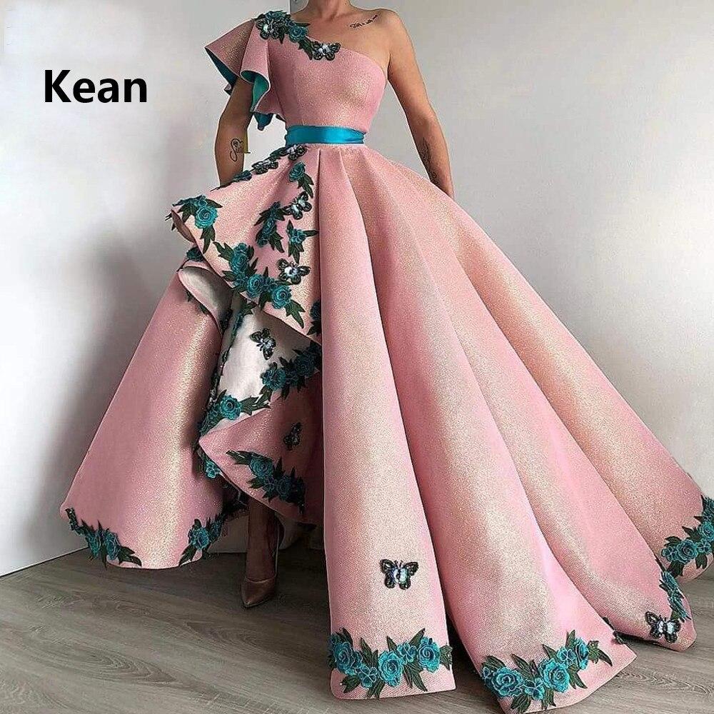 One Shoulder Muslim Evening Dresses Applique Asymmetry Robe De Soiree Islamic Dubai Kaftan Saudi Arabic Evening Gown Prom Dress