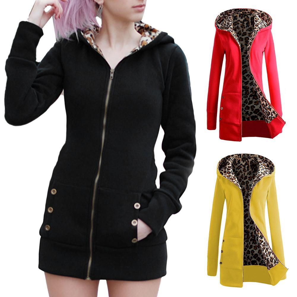 Fashion Autumn Winter Women Zipper Hooded Jacket Solid Color Leopard Long Sleeve Coat Nylon/ Polyester Size S-3XL Women's Coat