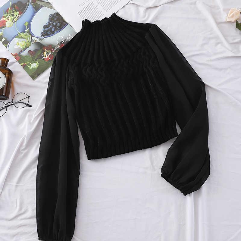 HELIAR femmes Blouse 2020 printemps décontracté lanterne manches en mousseline de soie manches extensible Blouse mode pit tricot mince élastique chandail