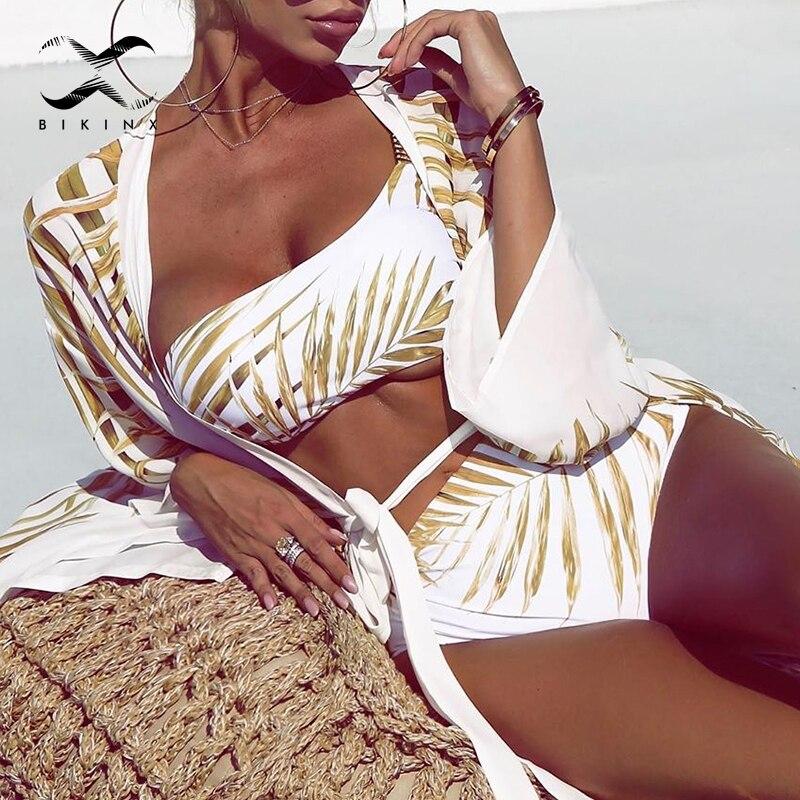 High Waist Sexy Swimsuit Female Bathing Suit One Shoulder Leaves Print Bikinis 2020 Mujer Biquinis White Bandeau Women Swimwear