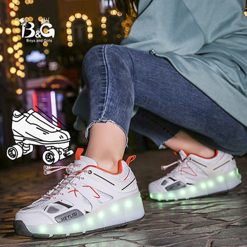 B&G LED Light Running Shoes Wheel Skateboarding Kids Shoes Mans Anti-slip Walking Shoes Breathable Woman Sneakers new shoes light double wheel breathable glowing walking shoes led roller skates 3 colors unisex students walking sneakers