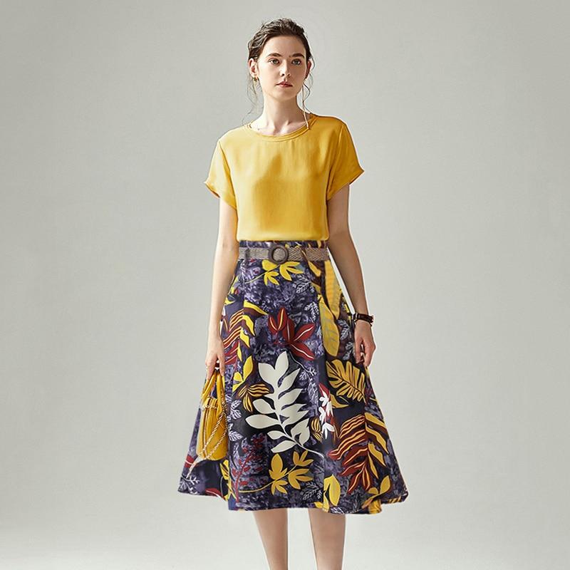 With Belt 2 Pcs Suit Set Women Summer Short Sleeve Lemon Blouse Tops + Vintage Retro Floral Print Pockets Skirt Suits Set NS17