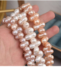 10*15mm/48pcs Natural Peanut Shaped White Pink Purple Freshwater Pearl Beads Diy Bracelet Necklace Fine Jewelry Finding