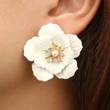 Fashion Jewelry Boho Painting Big Flowers Ear Hoop Earrings
