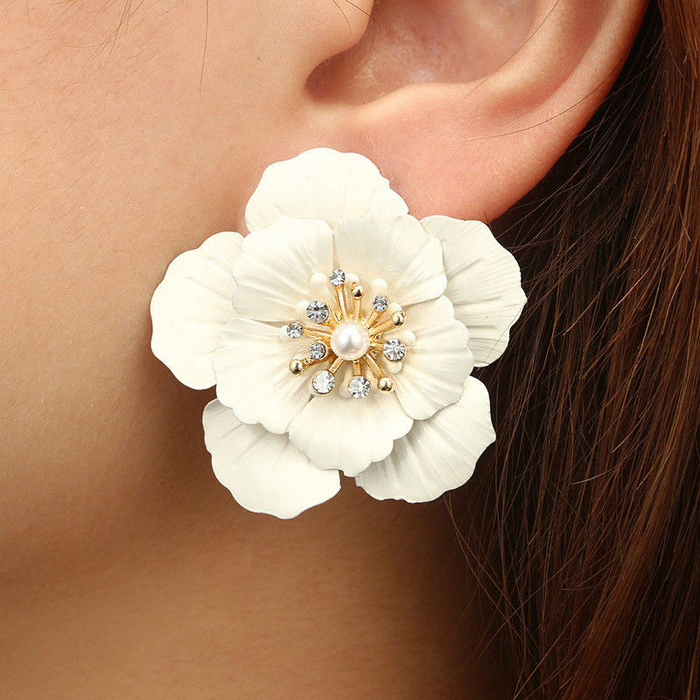 Fashion Jewelry Boho Painting Big Flowers Ear Hoop Earrings Dangle Dro