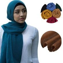 Frauen Solide Crinkle Hijab Schal Klar Weiche Baumwolle Viskose Wraps Mädchen Mode Stirnband Shalws Schals 10 Teile/los
