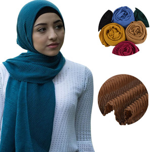 Women Solid Crinkle Hijab Scarf Plain Soft Cotton Viscose Wraps Girl Fashion Headband Shalws Scarves 10PCS/Lot(China)