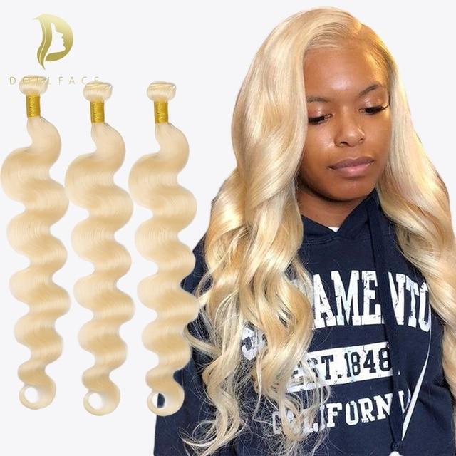 Extensiones de cabello humano 613 extensiones de pelo ondulado brasileño Rubio 3 mechones de extensiones de cabello ondas de agua 28 30 pulgadas de color