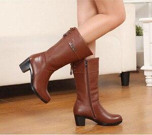 Image 5 - Winter Boots Wool Fur Inside Warm Shoes Women High Heels Genuine Leather Shoes Handmade Snow Boots Footwear Botas