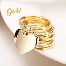 New gold Retractable Ring Love Heart Magical Variable Women Ring Women Round Statement Necklace Chain Fashion Jewelry 2020(China)