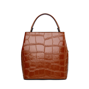Image 3 - BISONJS Women Bucket Handbag Luxury Top Handle Leather Small Women Bag Fashion Female Messenger Crossbody Shoulder Bag B1838
