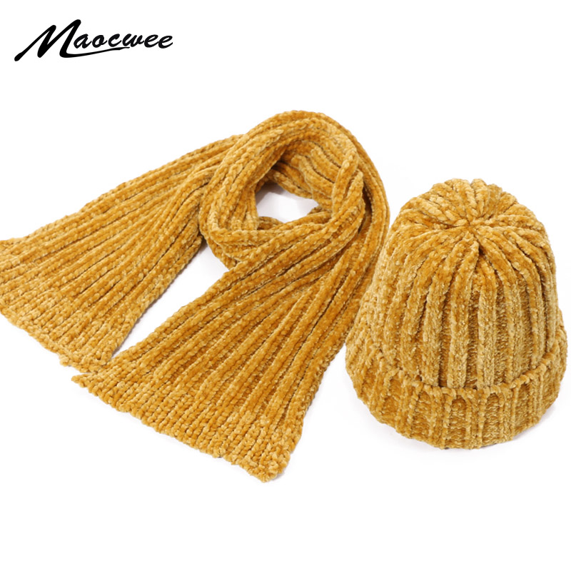 New Children's Knit Chenille Beanie Hat Scarf Sets Winter Outdoor Thicken Warm Women Girls Hat Scarf Set Over Three Years Old