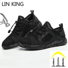 LIN KING Indestructible Safety Steel Toe Shoes Men And Women Protective Work Boots Shoes Anti Piercing Outdoor Sneakers Big Size дутики king boots king boots mp002xw0zwfn