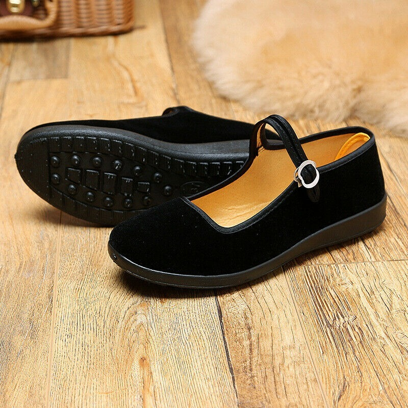 2020 Spring Summer Autumn Womens Classic Lao Beijing Velvet Flat Heeled Working Shoes Ladies Black Dancing