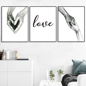 Poster Painting Wall Art Laminas Para Cuadros Hand Love Nordic Poster Canvas Print Lienzo Decorativo Tableaux Muraux Moderne(China)