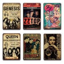 Rock N Roll-Póster de Metal para decoración del hogar, letreros Vintage de Johnny Cash, de Metal PLACA, Retro, Bar, cueva para hombre