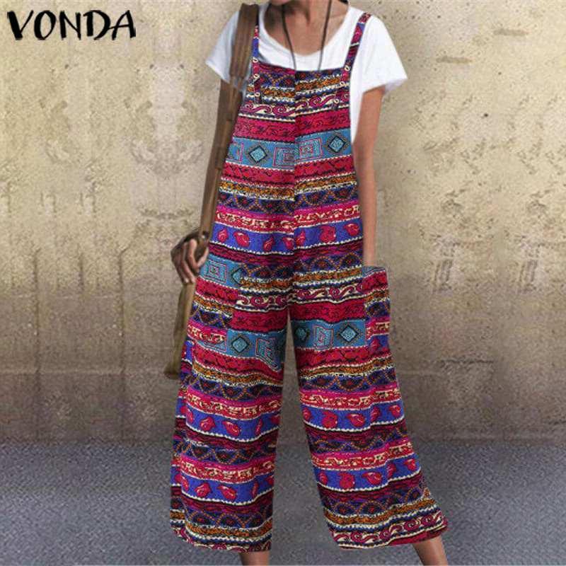 VONDA Romper Women Jumpsuit 2019 Summer Vintage Print Overall Pantalon Calf-Length Wide Leg Pants Plus Size Casual Playsuits 5XL