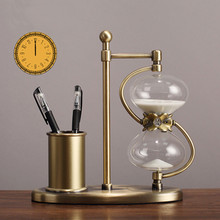 American light luxury metal pen holder hourglass timer 15/30 minutes creative fashion countertops