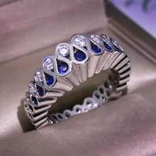 Elegant Female Blue Round Zircon Ring Vintage Crystal Silver Color Love Finger Ring Fashion Wedding Engagement Rings For Women unique style female crystal round leaf finger ring silver rose gold color wedding ring promise love engagement rings for women