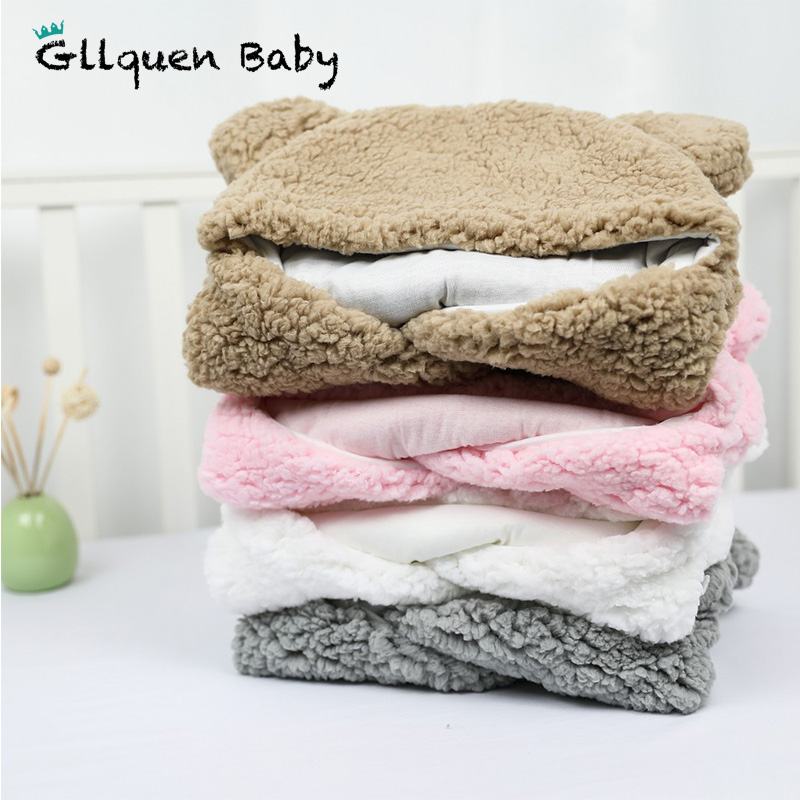 Baby Plush Sleeping Bag Newborn Sleeping Wrap Swaddle Baby Cute Receiving Blanket Sleeping Bag Sleep Sack (0-12 Month)