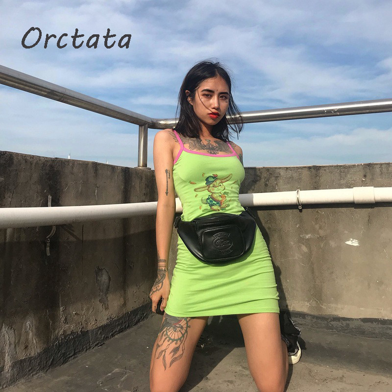 2020 Summer Women Green Slip Dress Fashion Solid Color Rabbit Print Dresses Casual Sexy Sleeveless Tight Mini Dress Women L1004 image
