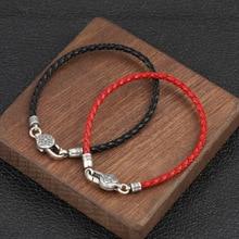 925 sterling silver Bracelets Bangle Couple Leather Red Black Rope Buddha Mantra Vajra friendship Bracelet Jewelry decompression anion pu leather non allergy bracelet silver black coppery