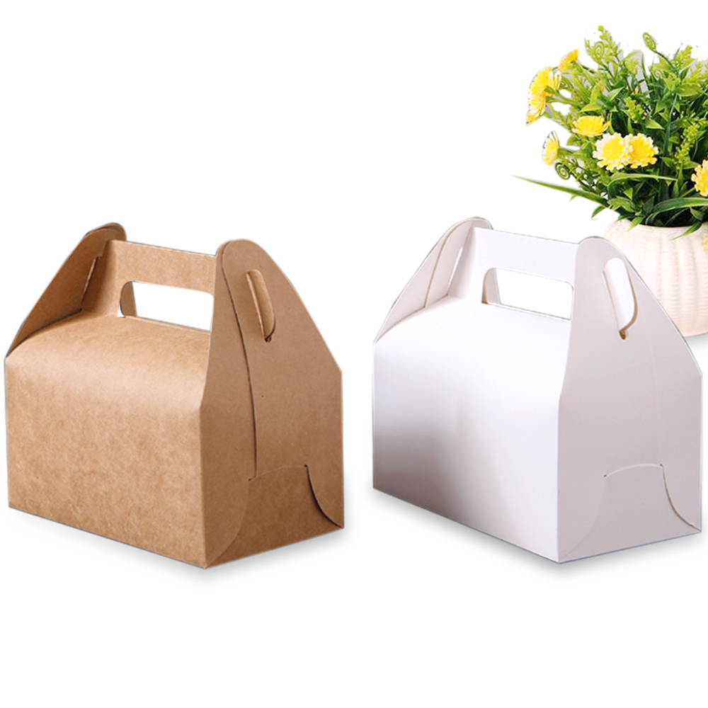 10pcs/lot Kraft Paper <font><b>Large</b></font> <font><b>Gift</b></font> <font><b>Box</b></font> Portable Pastry Boxes Biscuit Baking Packing Cupcake Bag Cake <font><b>Packaging</b></font> Party Favour image