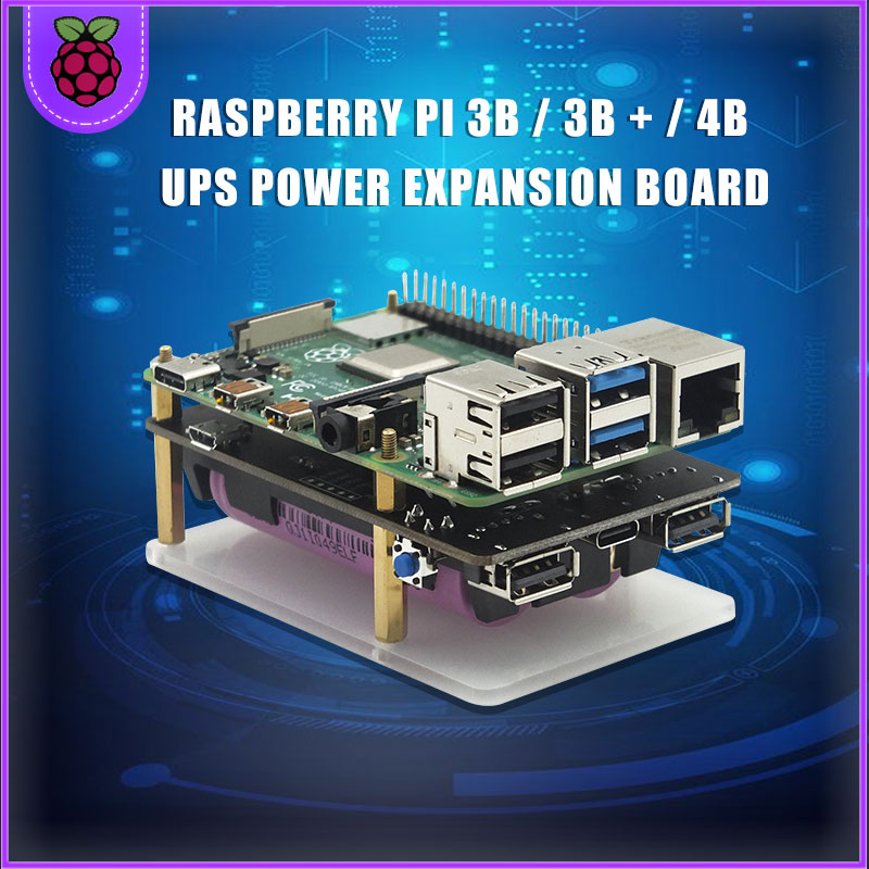 18650  UPS Pro Extended Two USBA Port Power Supply Device for Raspberry Pi 4 B   3B    3B  Not Include 18650 Battery