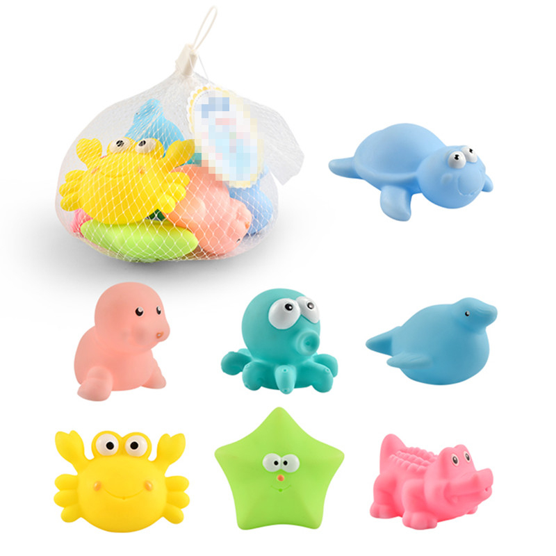 7pcs/bag Bath Toys Mixed Animals Swimming Water Toy Mini Colorful Soft Floating Rubber Squeeze Sound Funny Gifts For Baby Kids