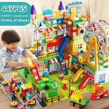 171-269 pces mármore corrida grande bloco compatível duploed blocos de construção funil slide blocos diy grande tijolo brinquedos para o presente das crianças