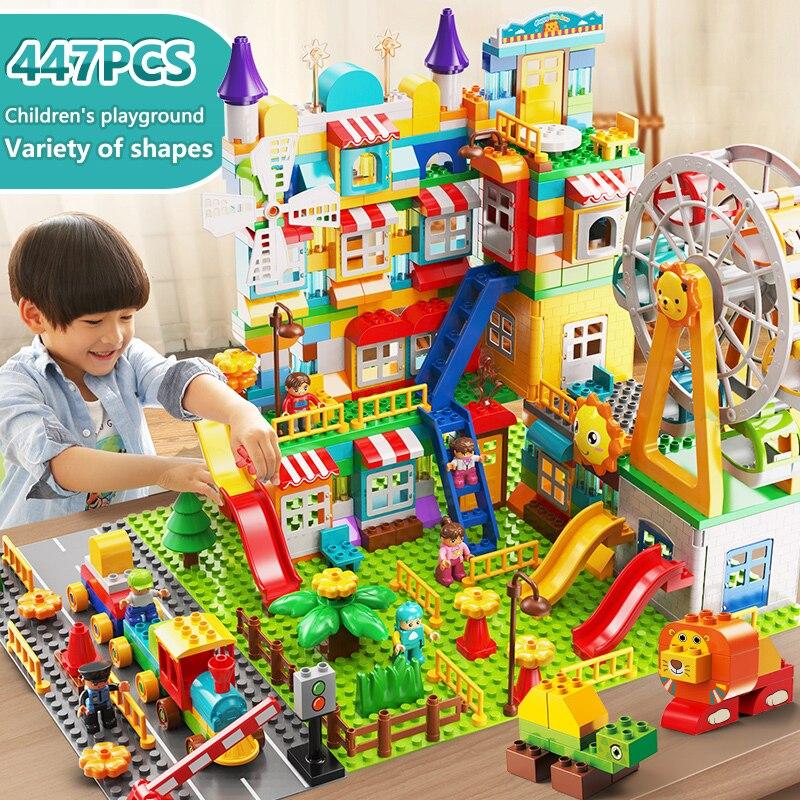 171-269 adet mermer yarış çalıştırmak büyük boy blok yapı taşları huni slayt blokları DIY büyük tuğla oyuncaklar çocuk hediye
