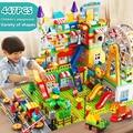 171-269 шт. мрамор бег большой Размеры блок строительные блоки Воронка слайд блоков DIY кирпичные игрушки для Детский подарок